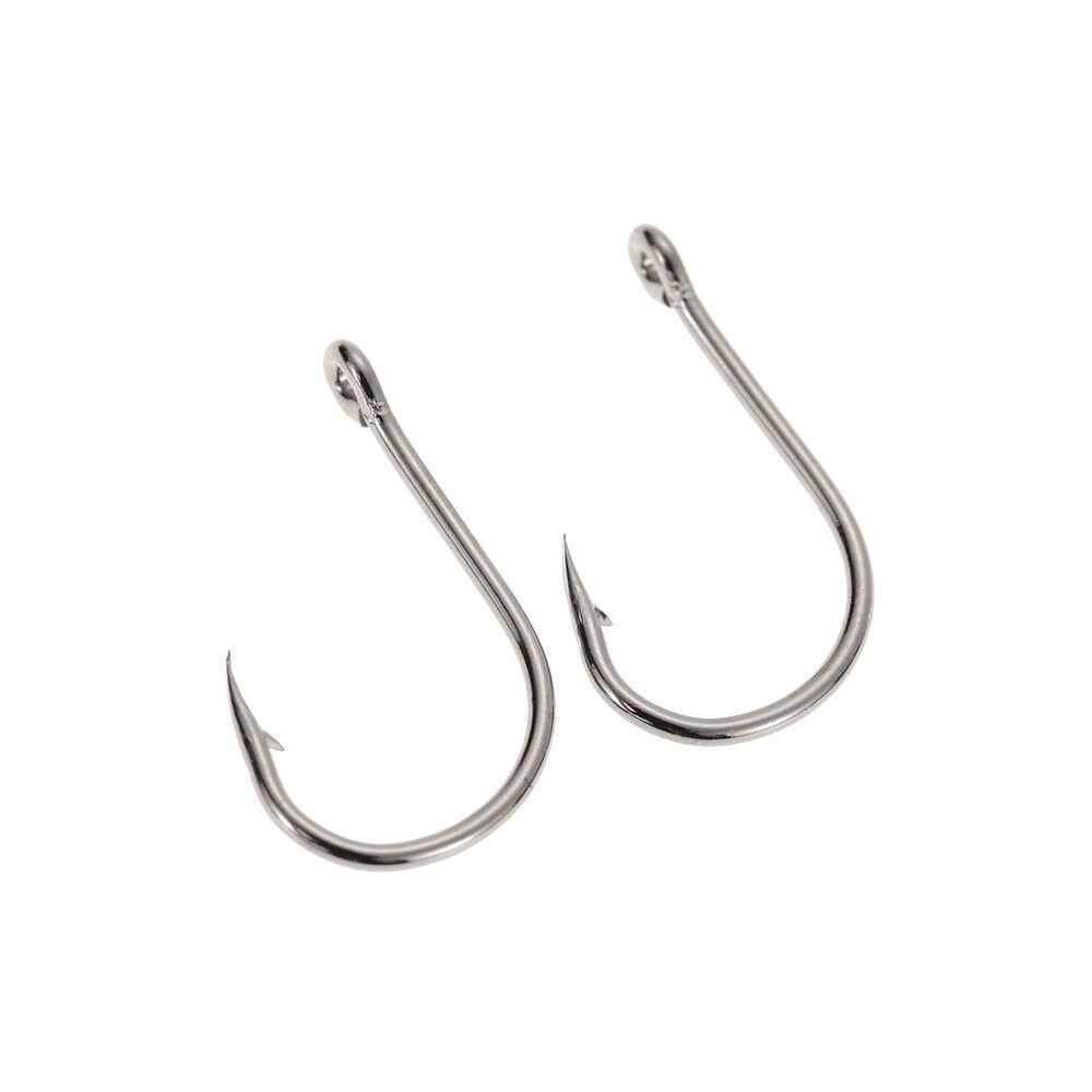 40pcs Strong Stainless Steel Sharpened Jigging Fish Hook Fishhook Jig Big Fishing Hooks Saltwater Bait holder Baitholder with Barb and Hole in a Case Pack