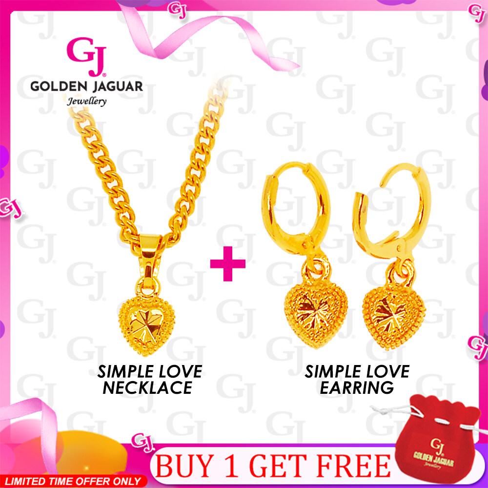 GJ Jewellery Emas Korea Set Simple Love - Necklace and Earring Combo Gold Plated (GJJ-B1-1)
