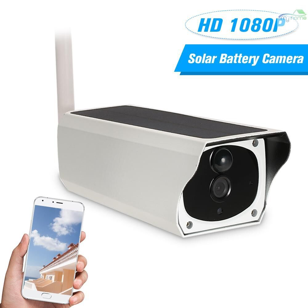 CCTV Security Cameras - WIRELESS HD 1080P WiFi Solar & Battery Power Bullet IP Camera PIR Motion Detection Android/iOS APP - WHITE