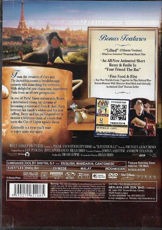 English Animated Movie Ratatouille DVD Walt Disney Pixar Film