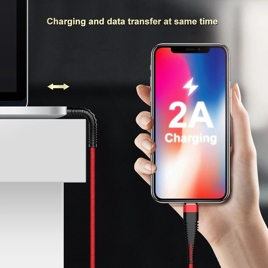 Mobile Cable & Chargers - 2A Micro USB Type-C Nylon Braided Fast Charging Data Cable For Oneplus 7 HUAWEI XIAOMI S10 - RED-TYPE C / BLACK-MICRO USB / RED-MICRO USB / BLUE-MICRO USB / BLUE-TYPE C / BLACK-TYPE C