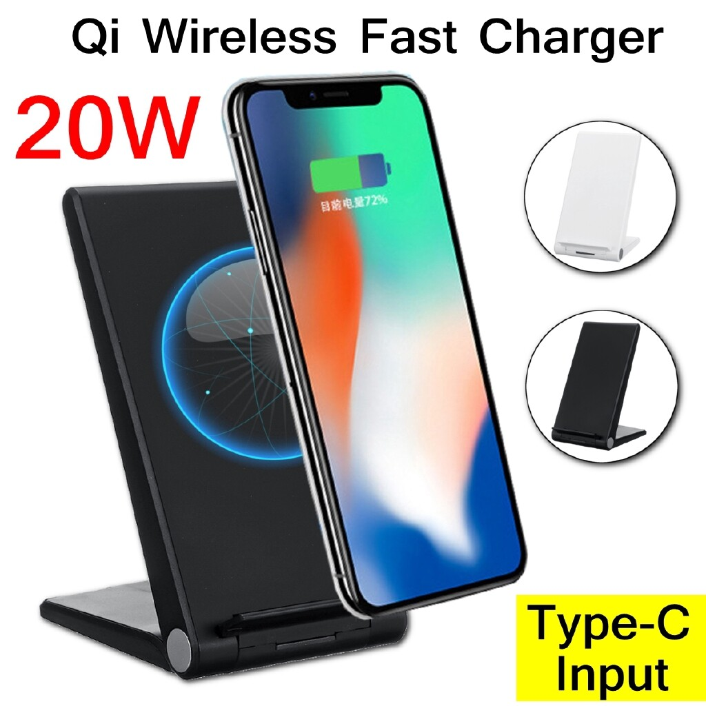 Chargers - 20W Qi WIRELESS Fast Charger Dock Stand Holder Bracket Charging For Phone Apple - BLACK / WHITE