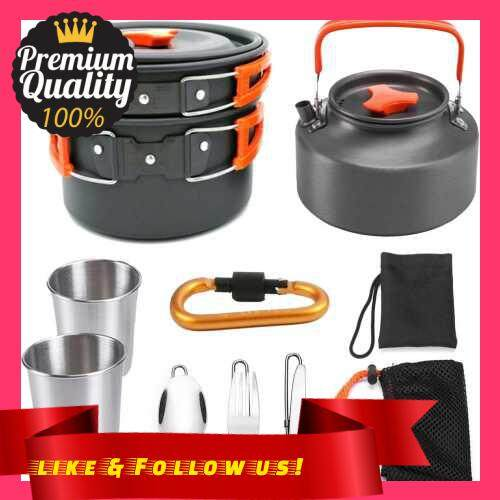 People\'s Choice 10pcs Camping Cookware Mess Kit 2-3 Persons Lightweight Kettle Pot Pan with 2 Cups Fork Spoon Kit Backpacking Gear for Outdoor Camping Picnic Backpacking Hiking (Orange)