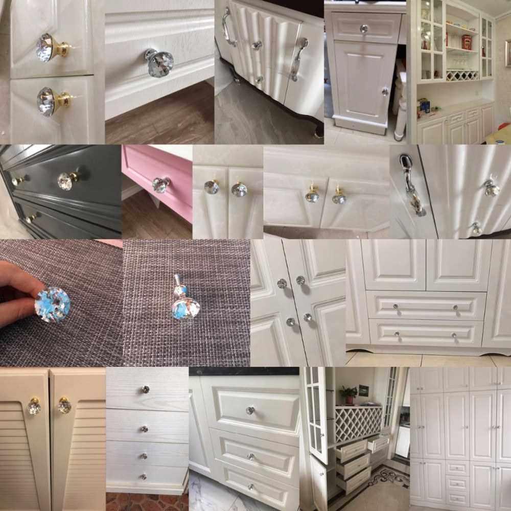 Door Handle Knob Drawer Pulls Furniture Handle 30mm Crystal Glass Aluminum Base Drawer Cabinet Door Handle Cabinet Hardware (Yellow)