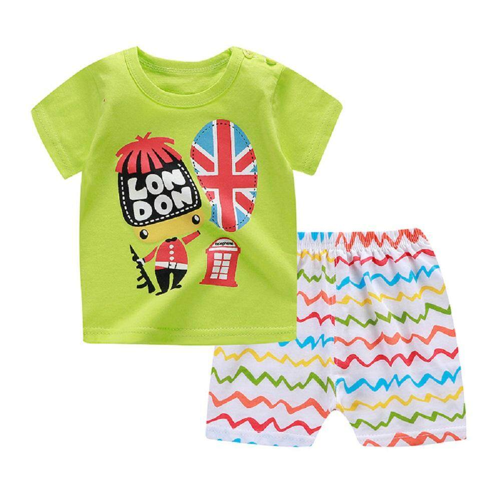Popular Children's Cartoon Printed Short Sleeve Pants Two-piece Suit for Baby