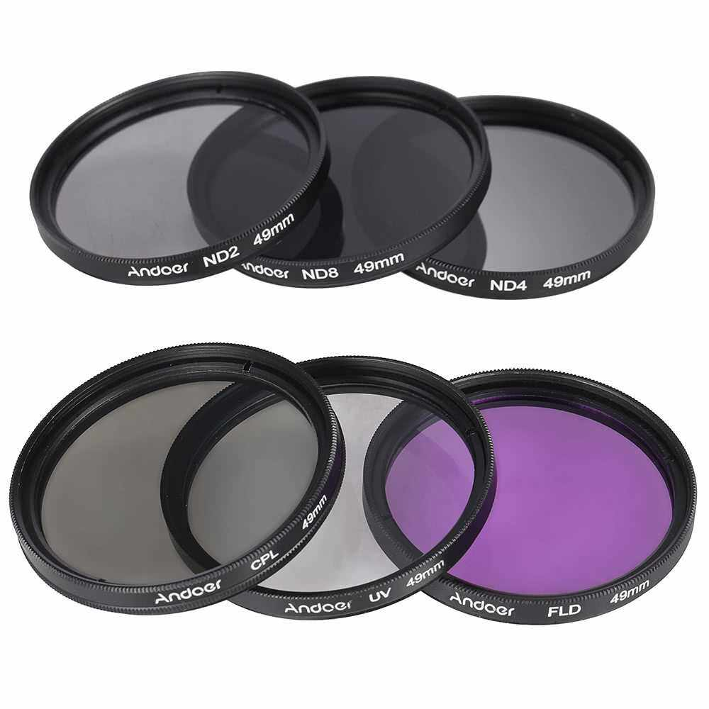 Andoer 49mm Lens Filter Kit UV+CPL+FLD+ND(ND2 ND4 ND8) with Carry Pouch / Lens Cap / Lens Cap Holder / Tulip & Rubber Lens Hoods / Cleaning Cloth (Standard)