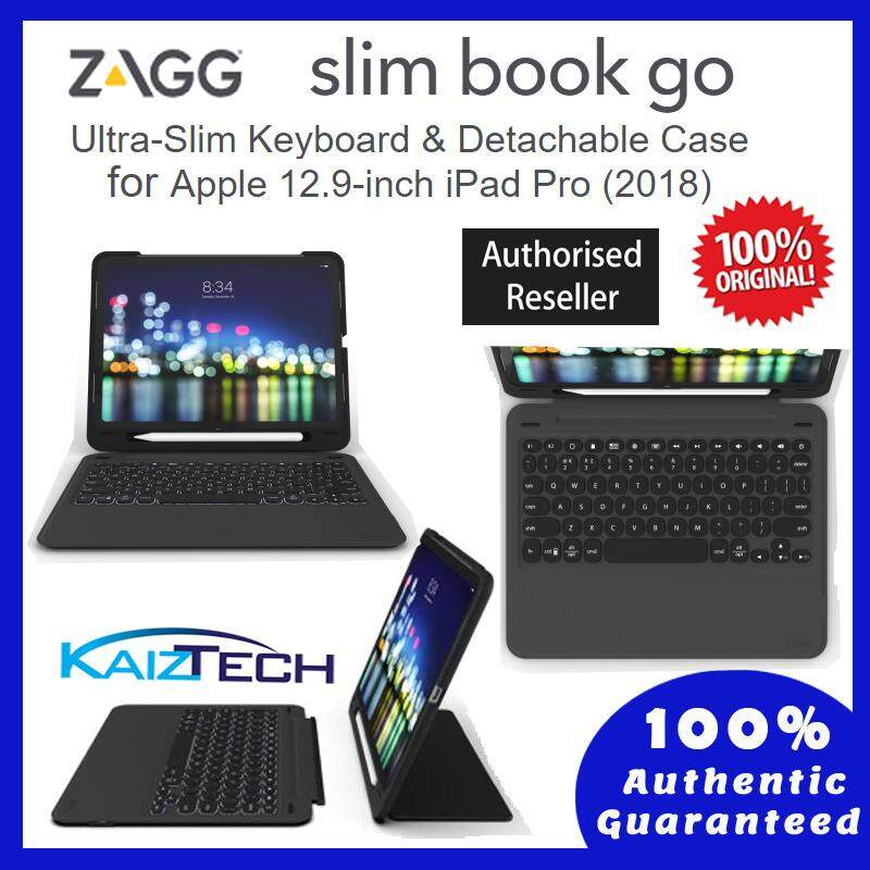 "Apple iPad Pro 12.9"" 3rd Generation 2018 - Original ZAGG Keyboard Case - Slim Book Go"