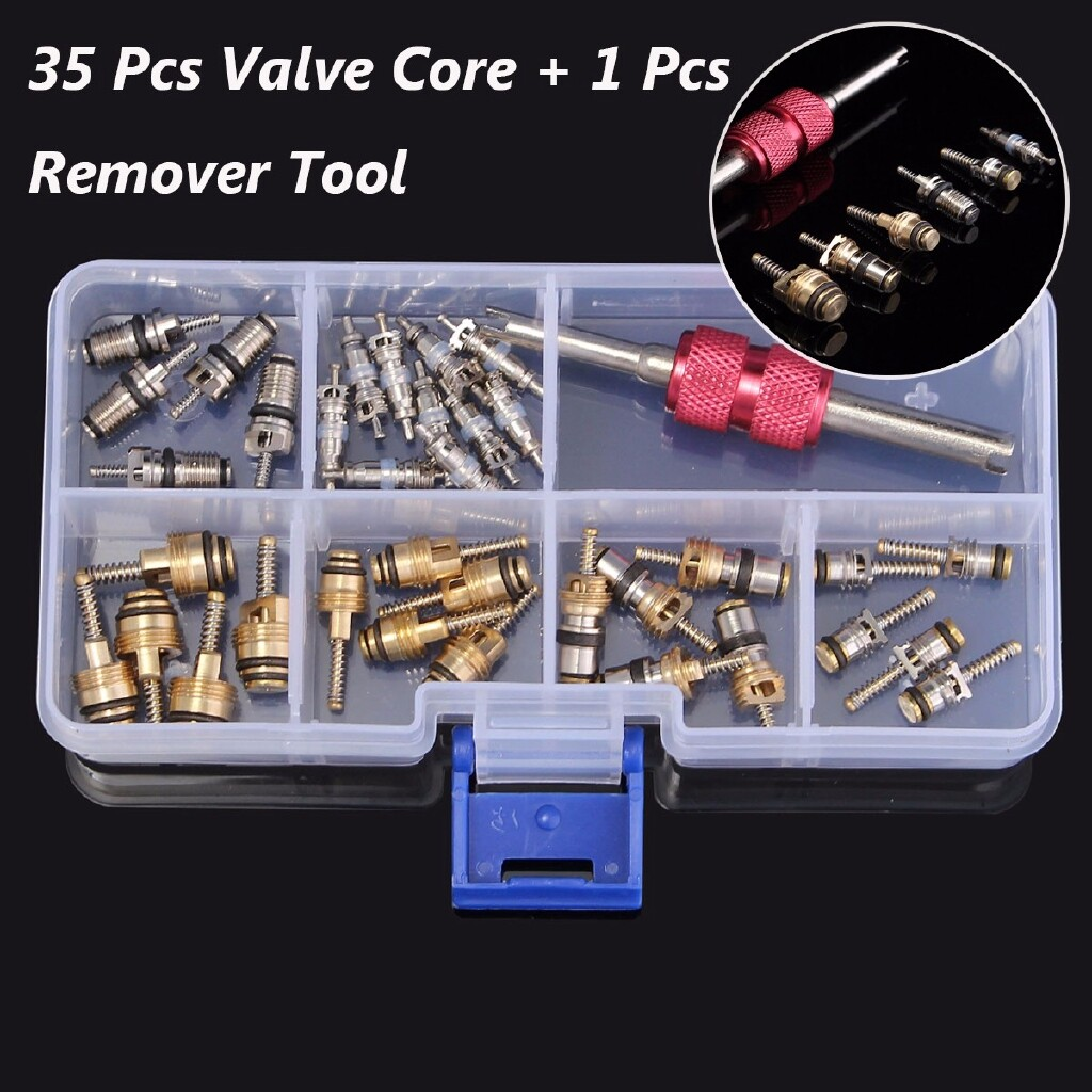 DIY Tools - 35 PIECE(s) Car A/C R12 R134a Automotive Air Conditioning Valve Core & Remover Tool - Home Improvement
