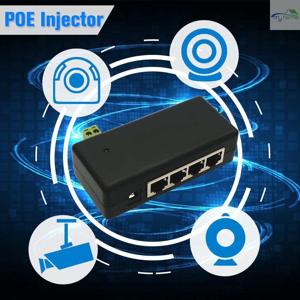 Monitors - CCTV 4CH PoE Injector Box DC 12V-48V Power Supply for Surveillance POE IP Camera Wifi AP VoIP Power - BLACK