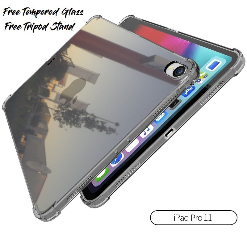Apple Ipad pro 11 Antishock Transparent Tpu bumper Case Cover Casing Nice Texture. Thick Edge side protection