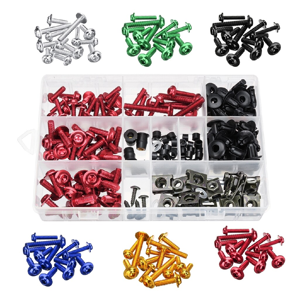 Moto Accessories - Motorcycle Complete Fairing Bolt Nuts Screws Kit Fastener Clips For SUZUKI - GREEN / GOLD / BLUE / SILVER / RED / BLACK