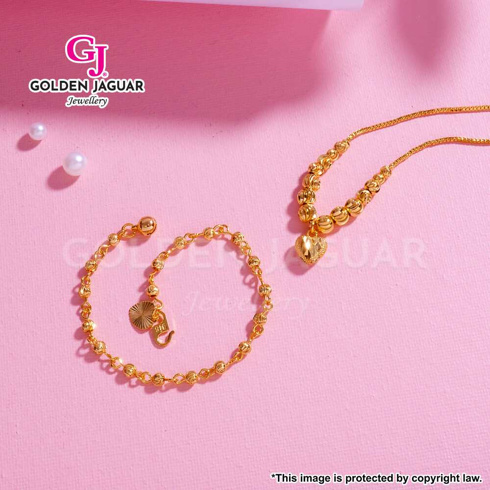 [Combo Set] GJ Jewellery Emas Korea Bulan Sabit Love Necklace + Bulan Sabit Bracelet - Combo Rantai Gelang Tangan Set 24K Gold Plated