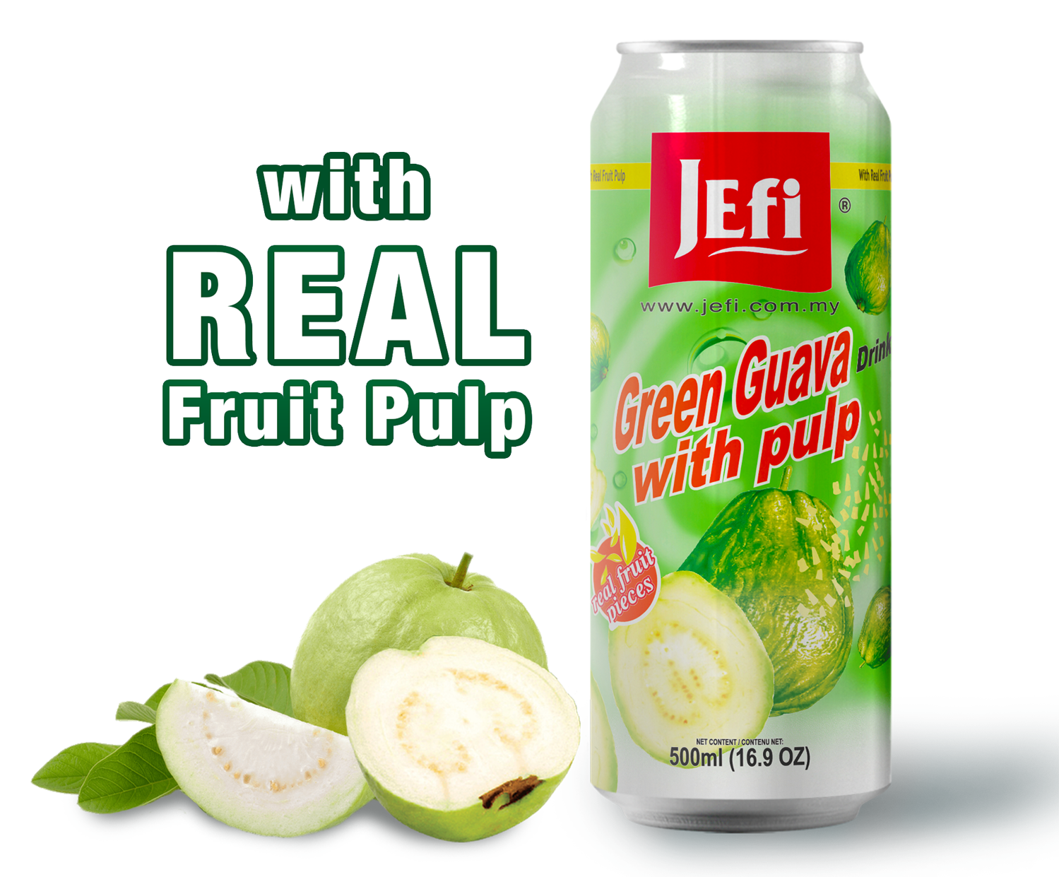 JEFI Green Guava Drinks with Real Fruit Pulp (500ml x 1tin)