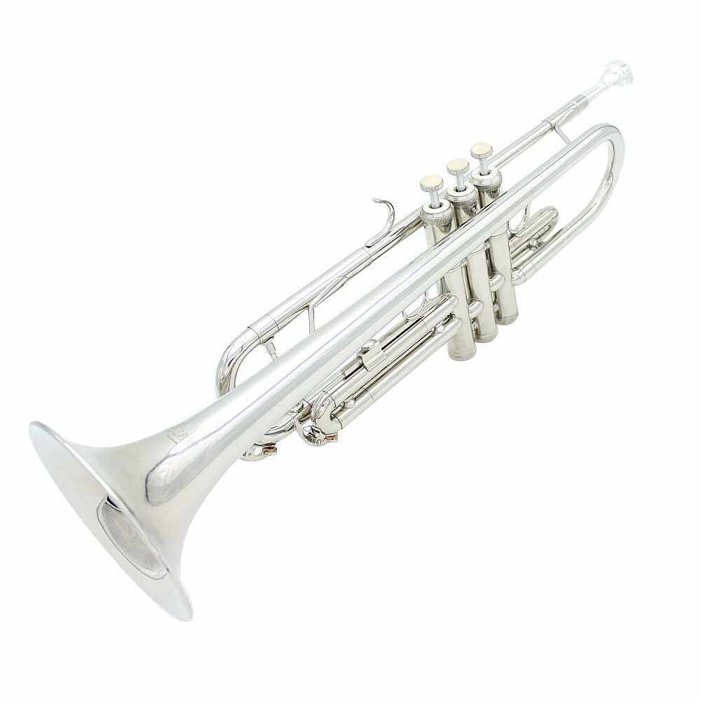 Trumpet Bb B Flat Brass Exquisite with Mouthpiece Gloves (Silver)