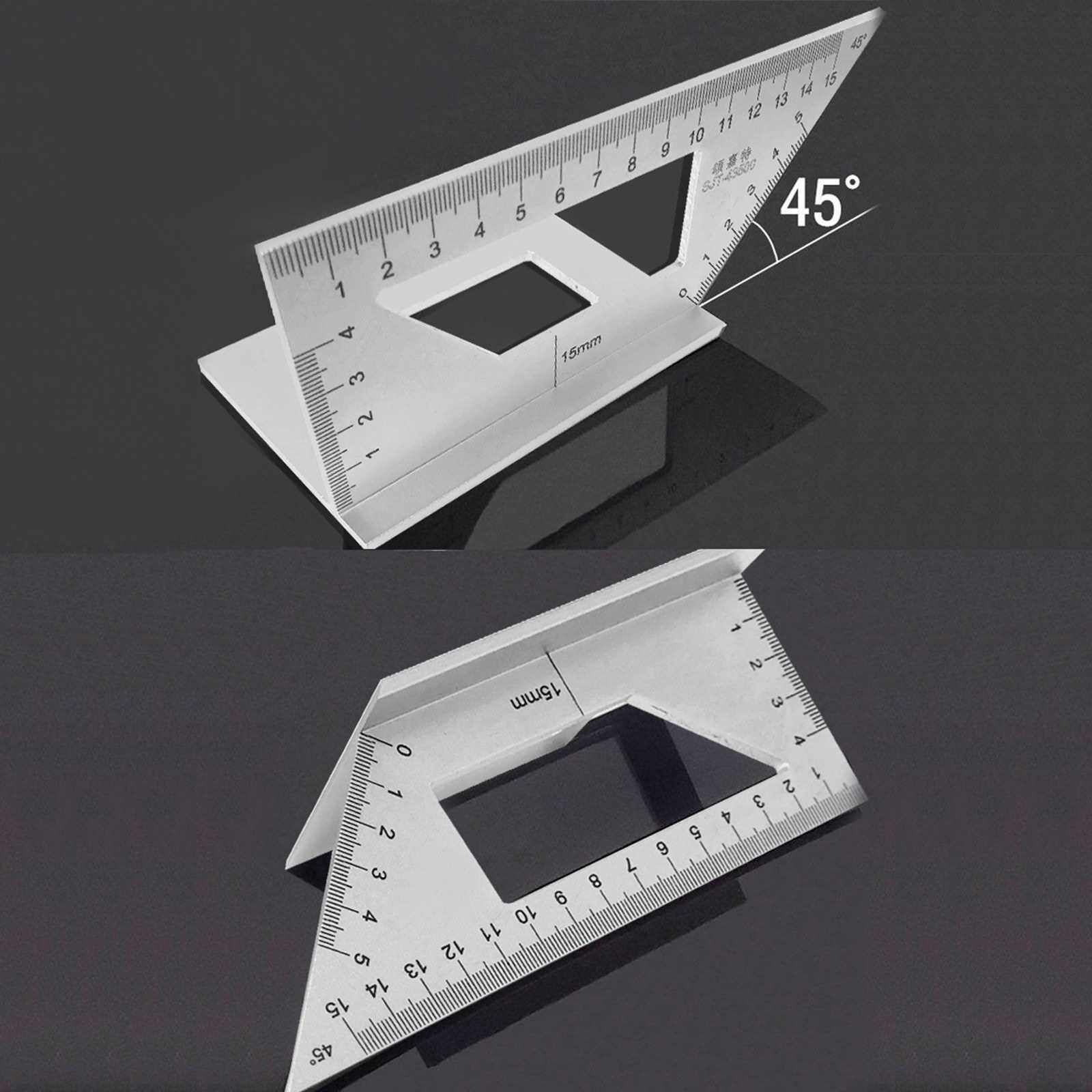 45/90 Degree Layout Miter Gauge Aluminum Alloy Multifunctional Angle Gauge Layout Square for Woodworking Industrial (Standard)