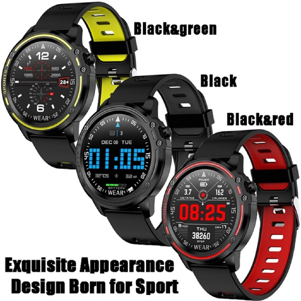 Smart Watch - IP68 Sport Smart Watch Heart Rate Blood Pressure Monitor Tracker for iOS Android - RED / BLACK / GREEN