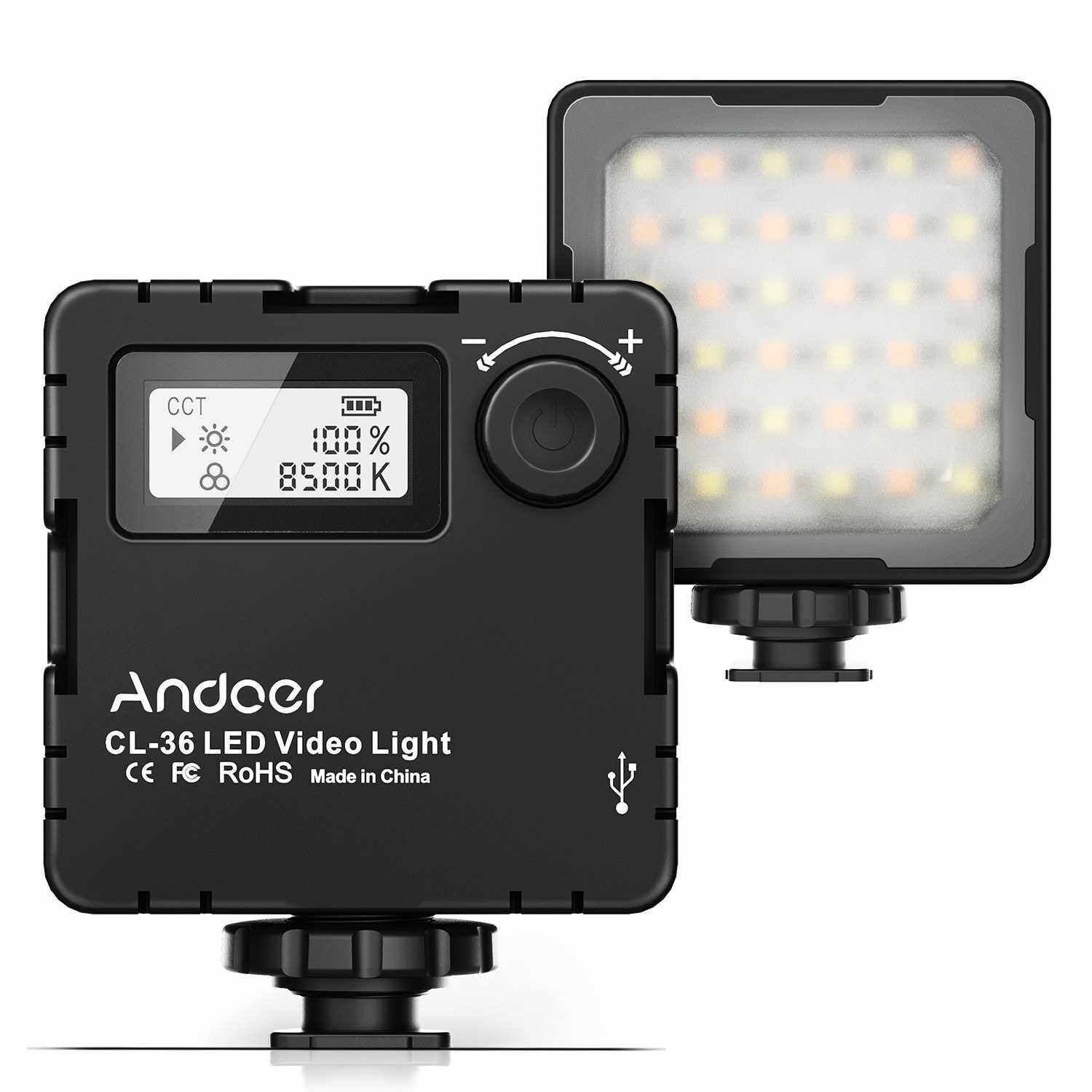 Andoer CL-36 Mini Bi-color LED Video Light 2800K-8500K Dimmable Built-in Rechargeable Battery with 3 Cold Shoe Mounts LCD Display Vlog Fill Light for DSLR Camera (Standard)