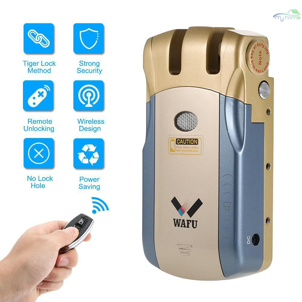 Chains & Locks - WAFU WIRELESS Remote Control Lock Security Invisible Keyless Door Entry Intelligent Lock with 2 - SILVER / BLUE&SILVER / GOLD&BLUE / 2 / 1
