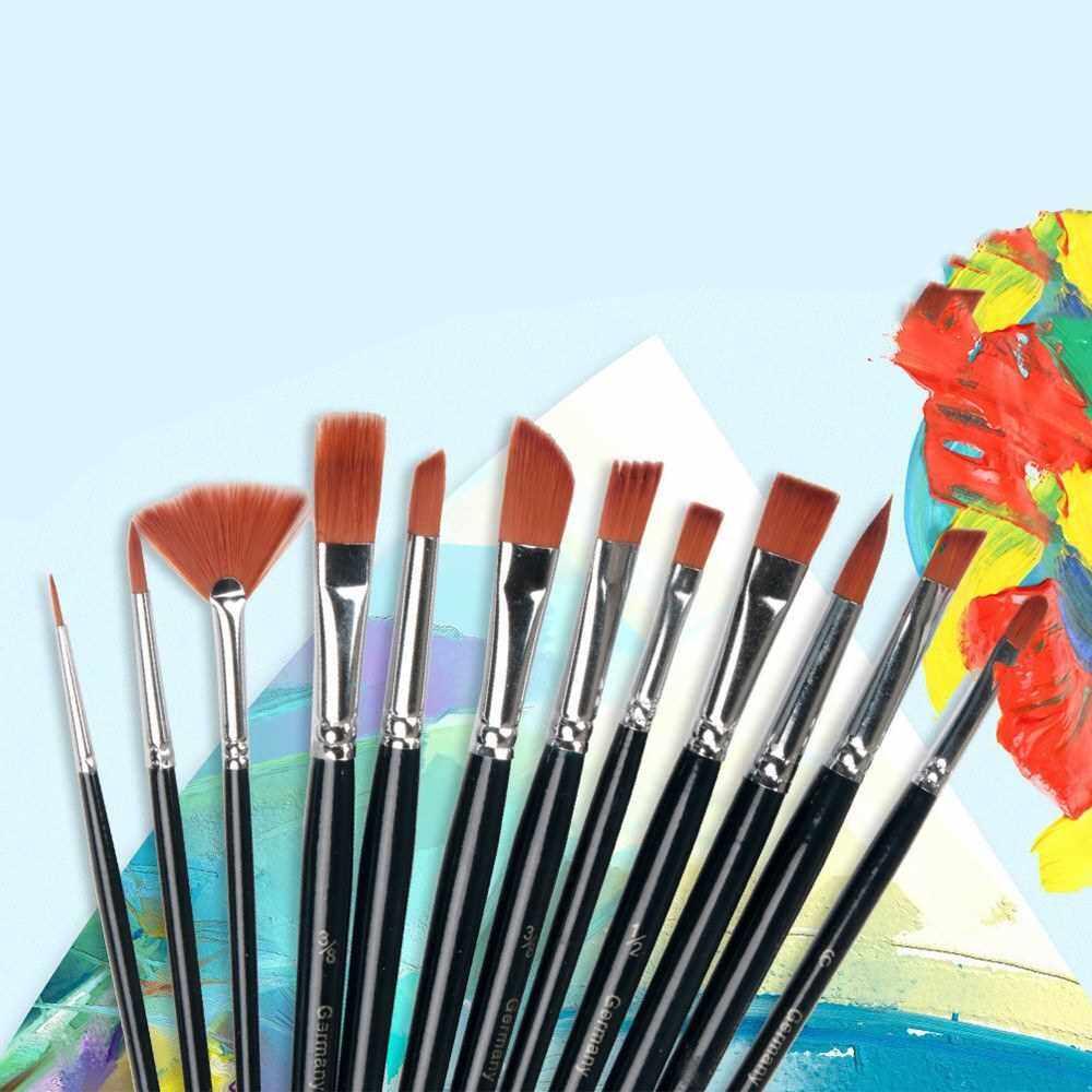 12 Pcs Paintbrush Set Nylon Hair Paint Brush Detail Paint Brushes Set Multifunction Paint Brushes for Acrylic Enamel Watercolor Oil Painting (Standard)