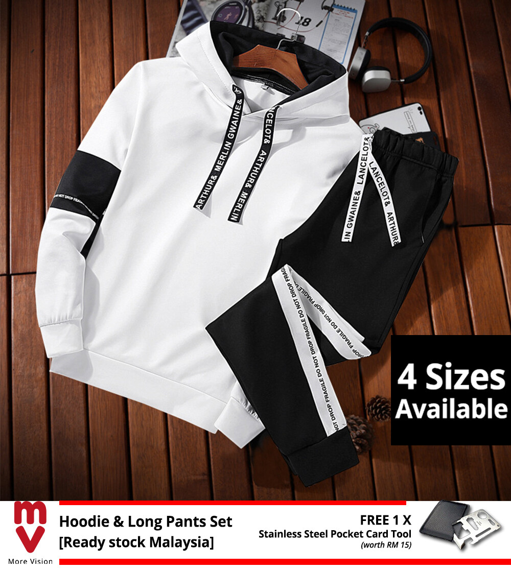 [Ready Stock] Hoodie & Long Pants Set 2PCS Men's Casual Sports Jackets Comfortable New Fashion Style Top Clothing Shirt Jacket