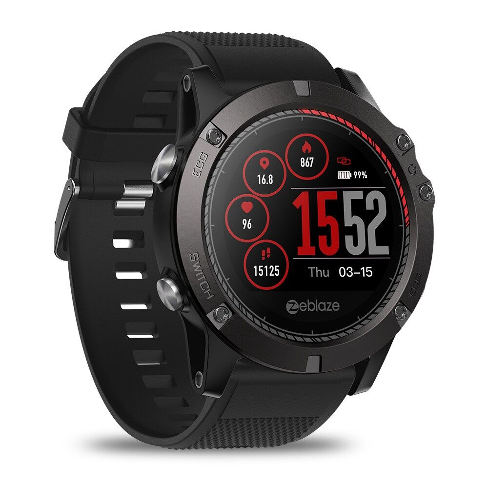 Smart Watch - VIBE 3ECG GREENCELL Heart Rate Instant ECG Activity Run Route Watch - RED / BLACK / BLUE
