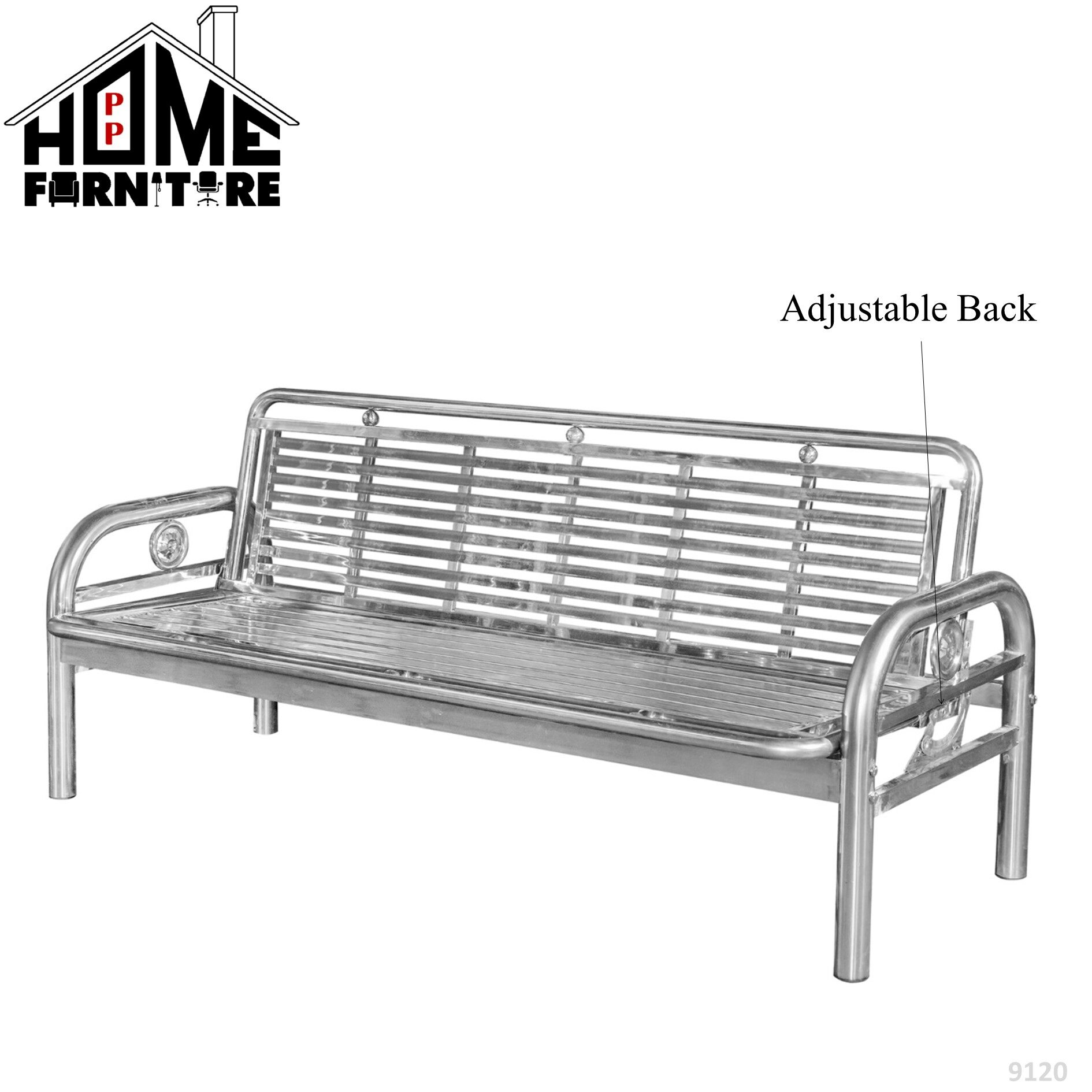 PP HOME Metal Bench chair/Steel bench/ Sofa bed/ Garden bench/ Waiting chair/ Long bench/ Outdoor chair/Outdoor furniture/ Patio chair/ Kerusi besi/ Kerusi rehat/Bangku besi/ Bangku pangjang /Kerusi taman 铁长凳/长凳椅DW5 1/2