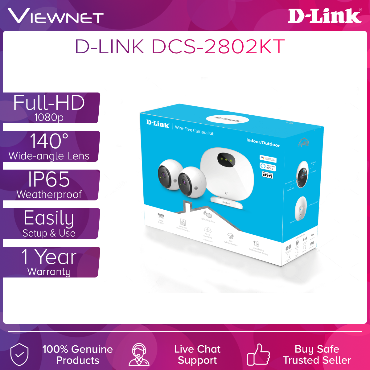 D-Link Wifi N300 Full HD 1080P 100% Wire-Free Outdoor IP Camera IP65 (DCS-2802KT)