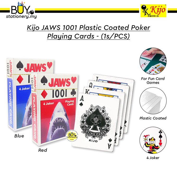 Kijo JAWS 1001 Plastic Coated Poker Playing Cards - (1s/PCS)