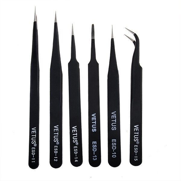 Cool Gadgets - 6 PIECE(s) Anti-Static Different Size Vetus ESD Tweezers ESD10 toDB - Mobile & Accessories
