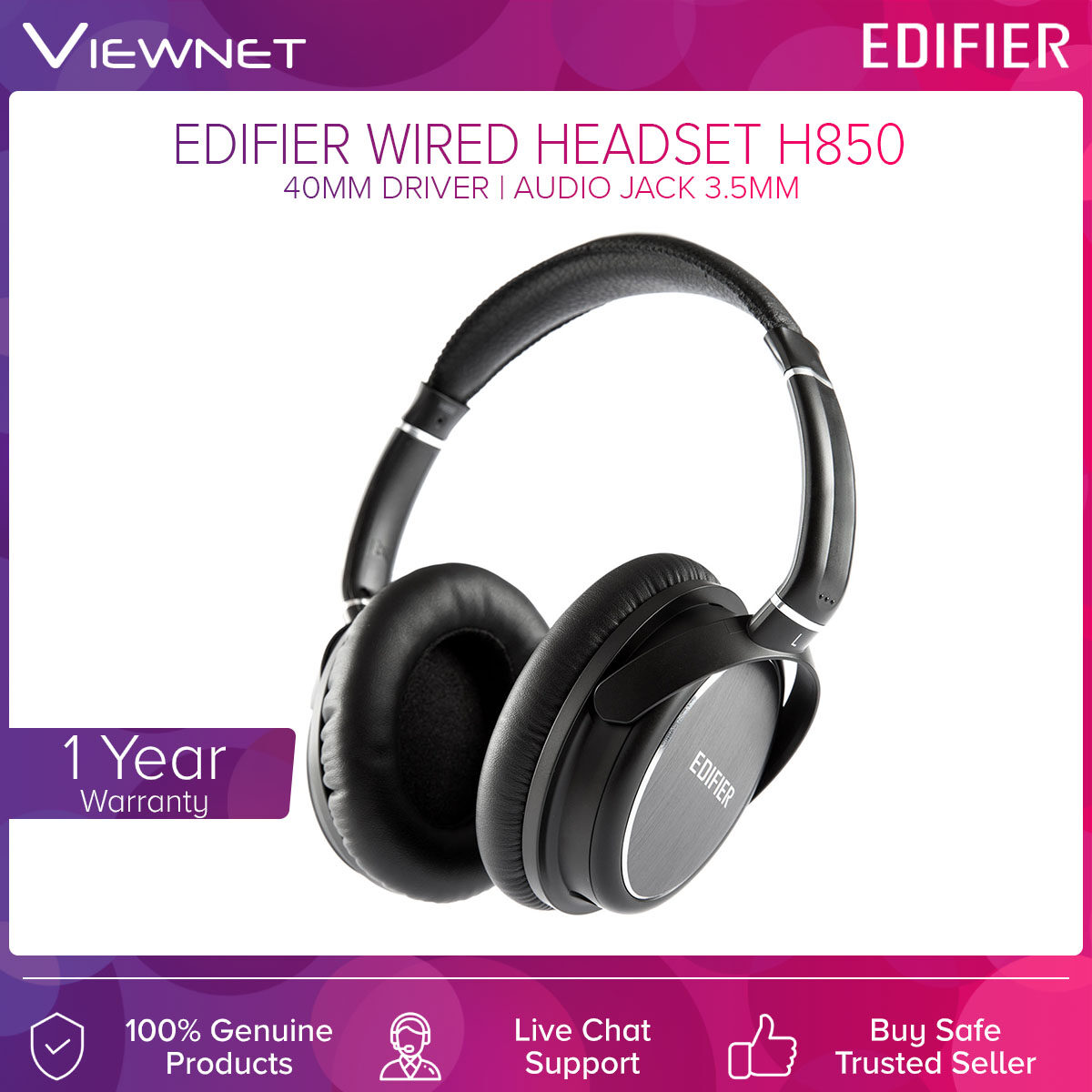 Edifier Wired Headset H850 with 40MM Driver, Comfortable Design, Detachable 3.5MM Audio Jack, Cable Length 2 Meter