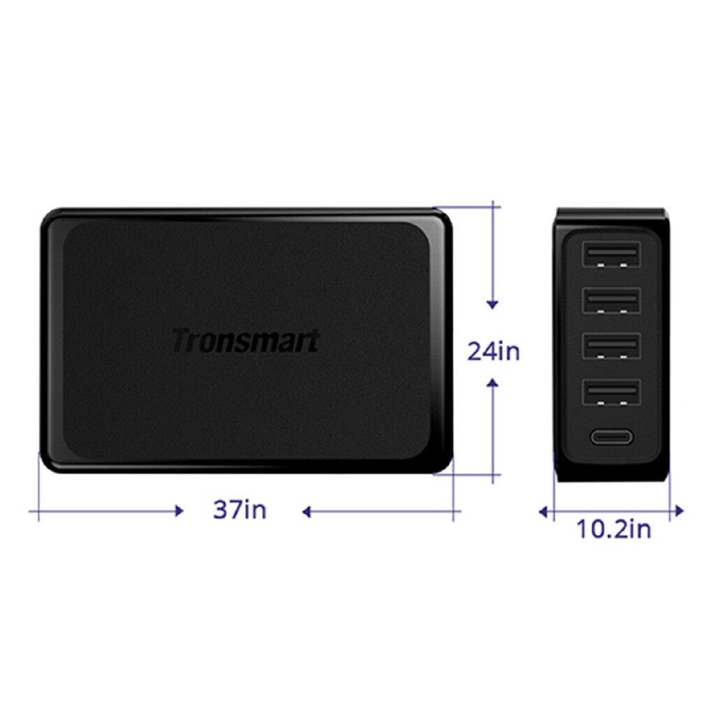 Chargers - Tronsmart U5P 5 Port USB Quick Charging 3.0 Adapter USB-C Desktop Charger 60W - Cables