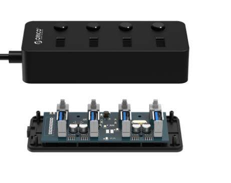 Orico 4 Port 3.0 USB Faceup Design USB Hub (ORI-W9PH4-V1-U3-BK), Speed up to 5Gbps, Widely Compatible