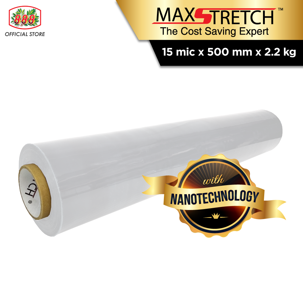 MAX STRETCH Stretch Film/Wrapping Firm/Plastic Pallet Wrap - Clear (500mm x 2.2Kg X 1 Roll)