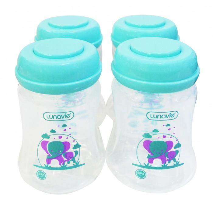 LUNAVIE WIDE NECK BREASTMILK STORAGE BOTTLES *6OZ* (4 BTLS) - GREEN