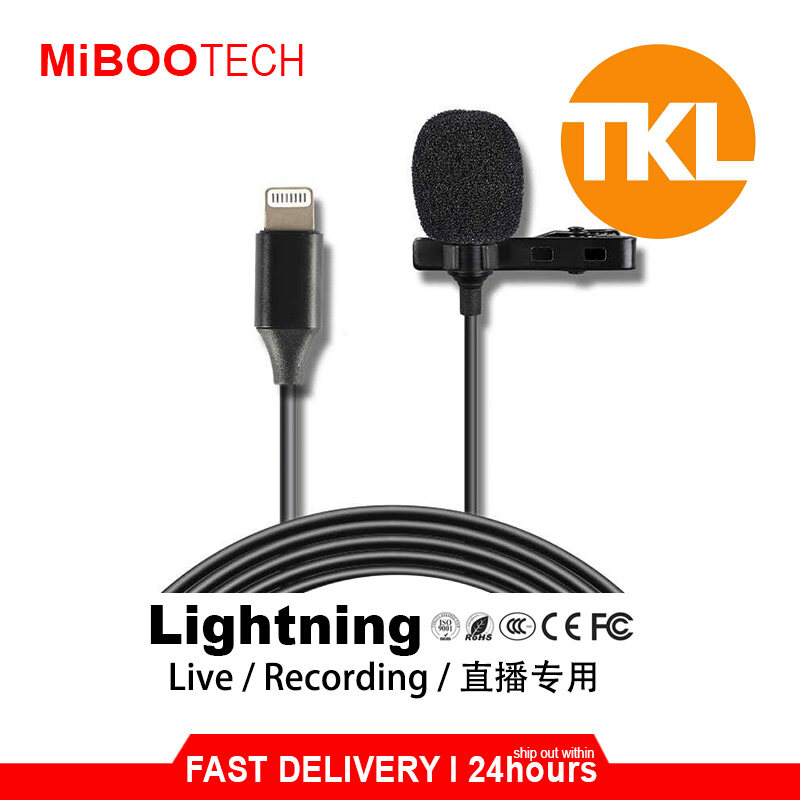 [Miboo] Original TKL Professional Live Mini Lavalier Microphone Type-C Lightning Interface wired Lapel Clip Mic