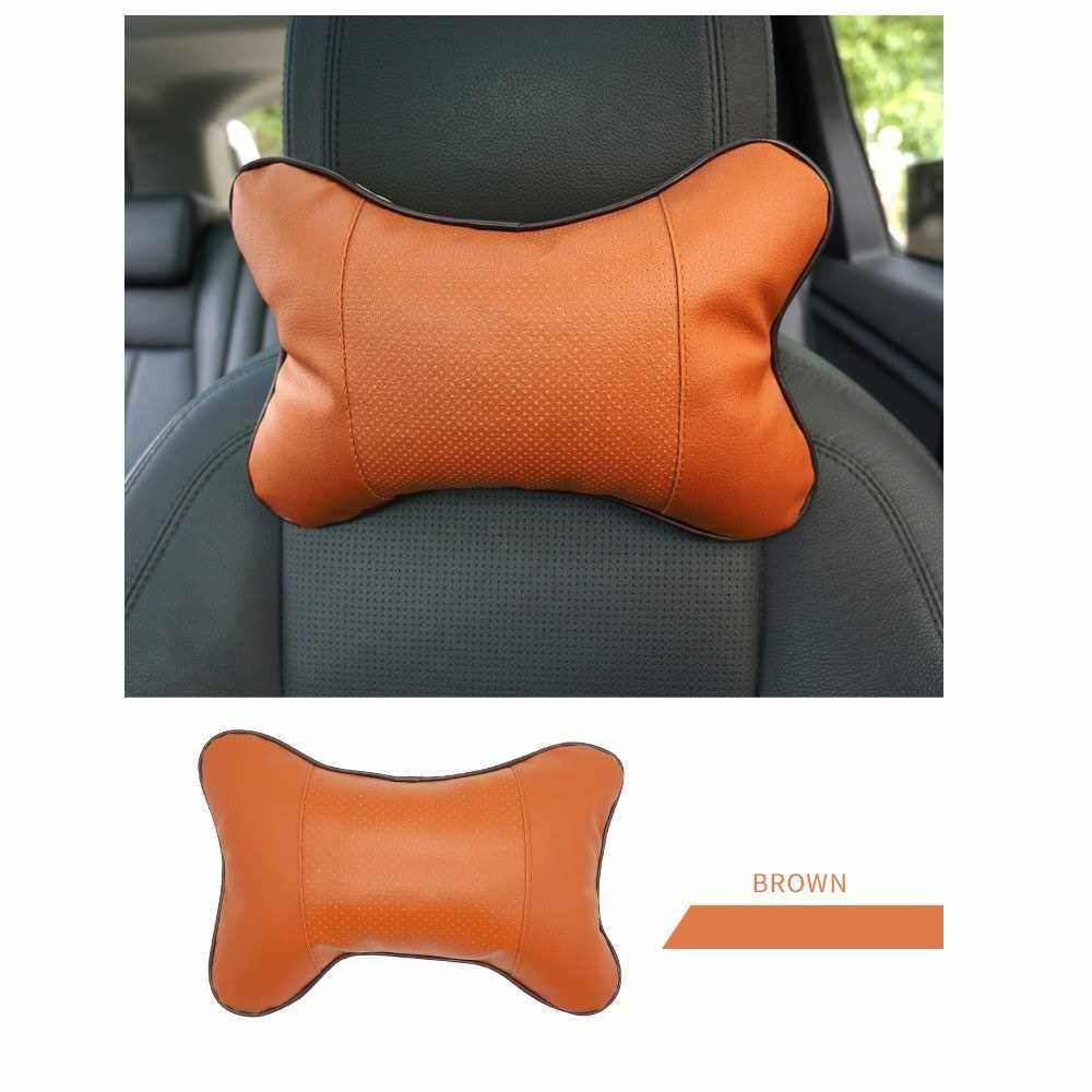 Factory direct four seasons universal Danny leather car headrest neck pillow red wine embroidered bone pillow car headrest black (Black)