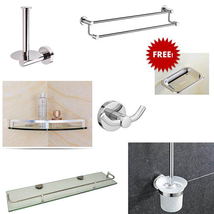 SUS304 Stainless Steel Robe Hook + Towel Bar + Corner Glass Shelf + Rectangular Glass Shelf + Toilet Paper Holder  + Toilet Brush