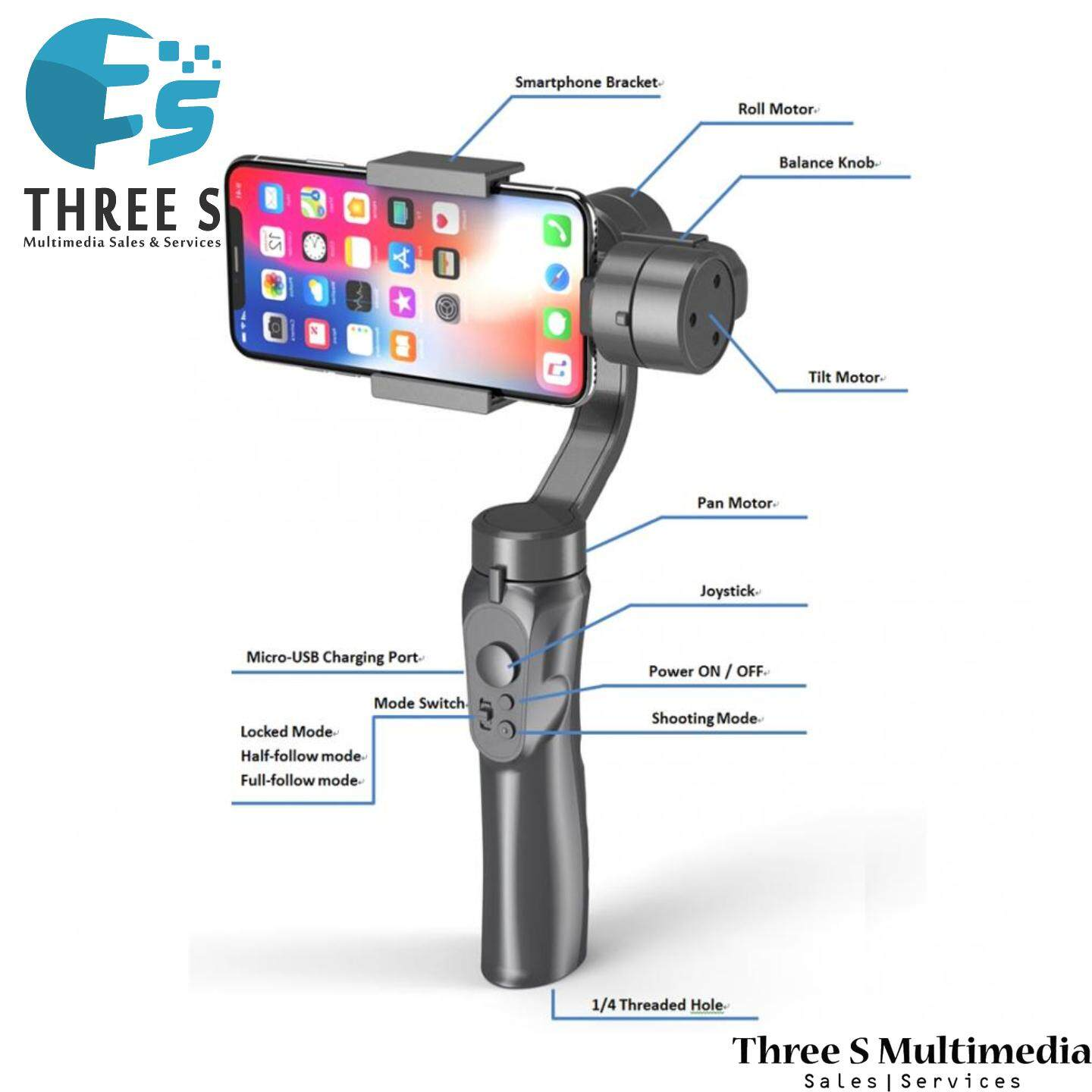 H4 3 Axis Handheld Anti-shake Mobile Phone Gimbal Stabilizer for Cellphone Action Camera Hot