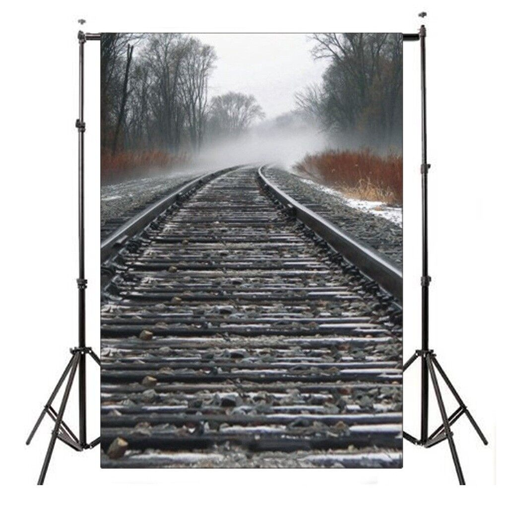 Lighting and Studio Equipment - 5X7FT Vinyl Train Road Railway Photography Background Photo Studio Backdrop - Camera Accessories