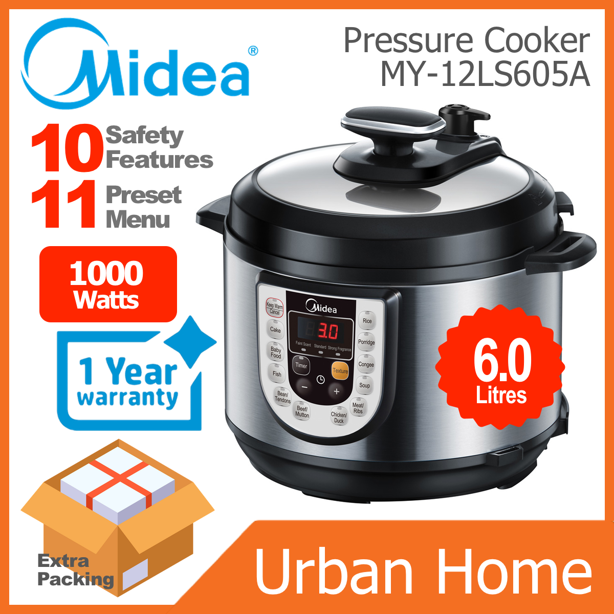 MIDEA 6L Stainless Steel Pot Pressure Cooker Periuk Tekanan (MY-12LS605A/MY12LS605A)
