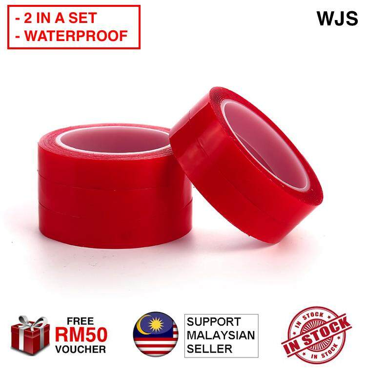 (2 IN A SET) WJS Waterproof Silicone Double Sided Tape Auto Glue Sticker High Strength No Traces Adhesive Sticker Silicon Silikon Cell Tape Acrylic Tape Living Goods For Car Super Sticky RED [FREE RM 50 VOUCHER]