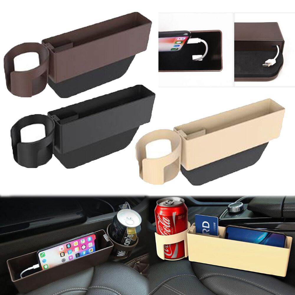 Adjustable ABS Car Seat Storage Box Side Pocket Gap Slit Pocket Coin Console Organizer ???? ? Cup Drink Holder Kotak Penyimpanan Tempat Duduk Pemegang Minuman Cawan Kereta