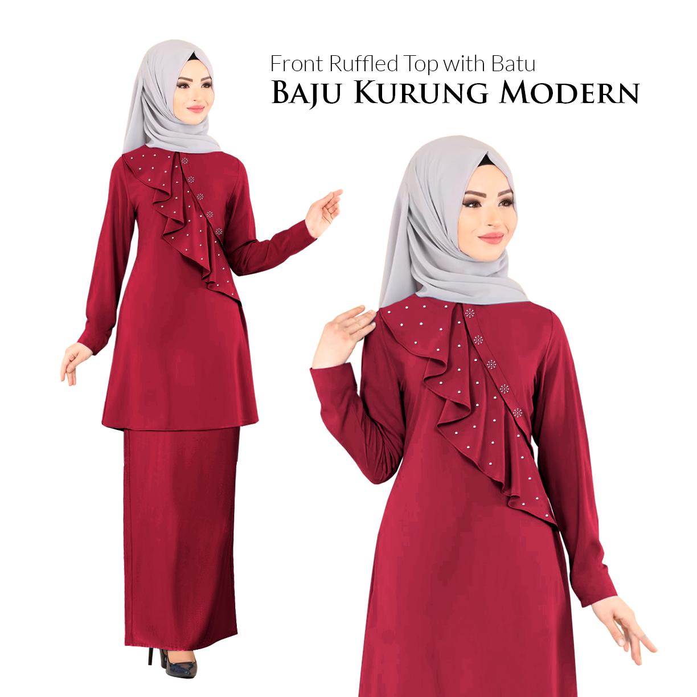 Price List KM Fashion Front Ruffled Top with Batu Baju Kurung Modern (Hot Item) (New Arrival) Terbaik