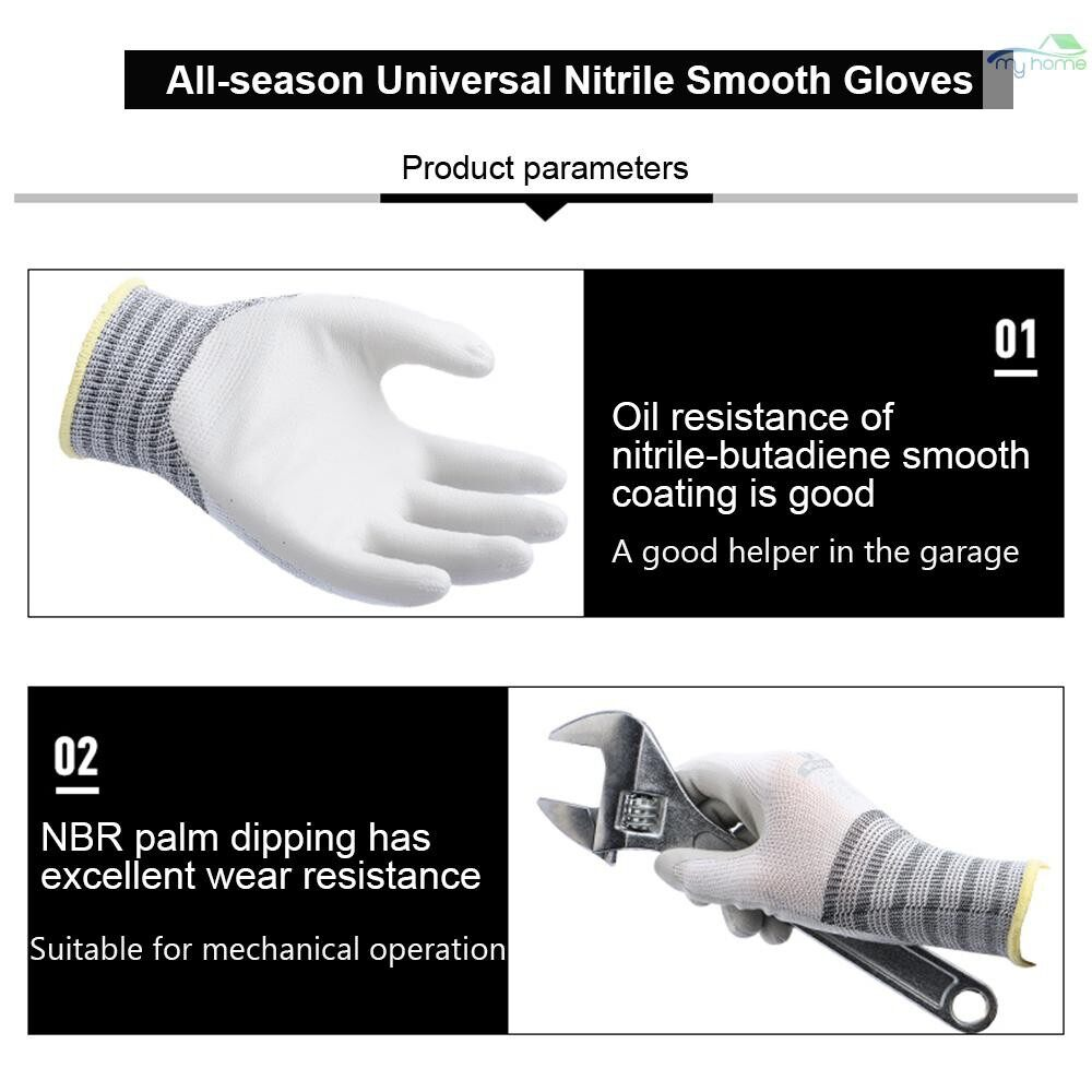 Protective Clothing & Equipment - Wonder Grip WG-650 Safety Gloves Nitrile Rubber Protective Gloves Wear-resistant Waterproof - WHITE-XL-3 PAIRS / WHITE-M-3 PAIRS / WHITE-S-3 PAIRS / WHITE-XL-10 PAIRS / WHITE-M-10 PAIRS / WHITE-S-10 PAIRS / WHITE-L-1