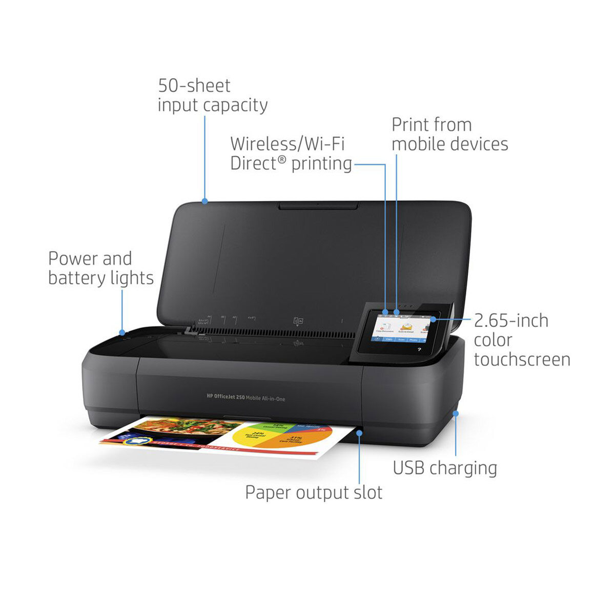 HP OfficeJet 250 Mobile All-in-One Printer Print, Scan, & Copy