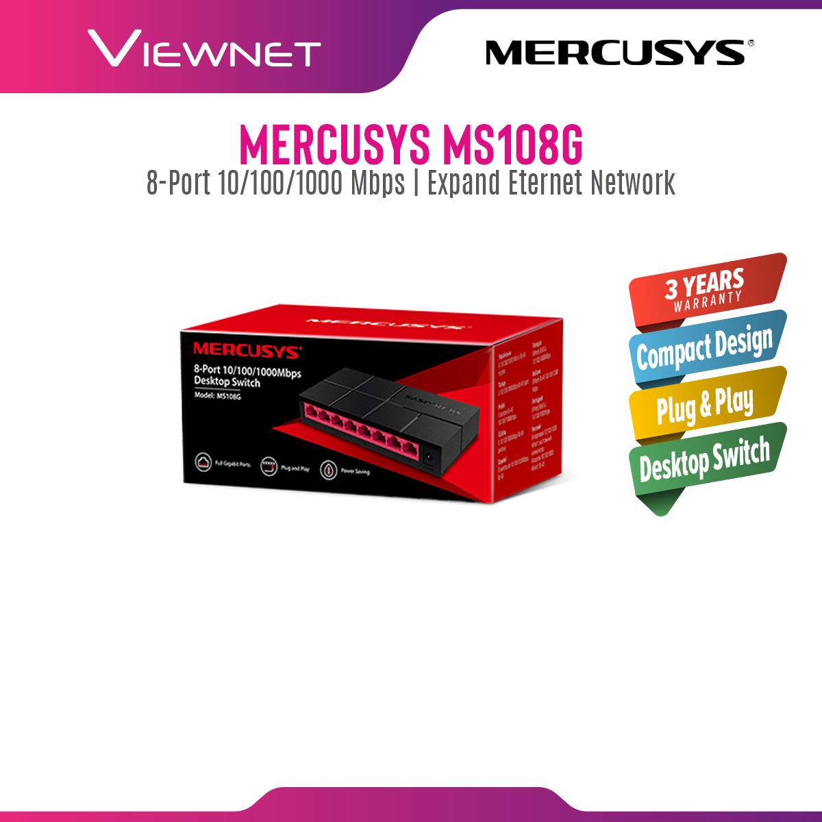 Mercusys (Powered by TP-Link) 8-Port Gigabit 10/100/1000 Mbps Desktop Network Ethernet LAN Switch MS108G (TP LINK)