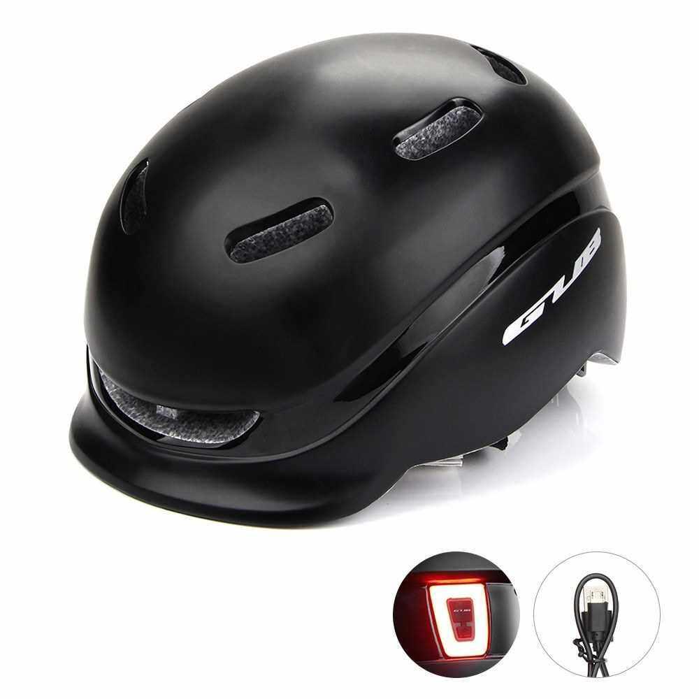 Bike Helmet with USB Rechargeable Rear Light Road Cycling Mountain Biking Bicycle Sports Helmet for Men Women (Black)