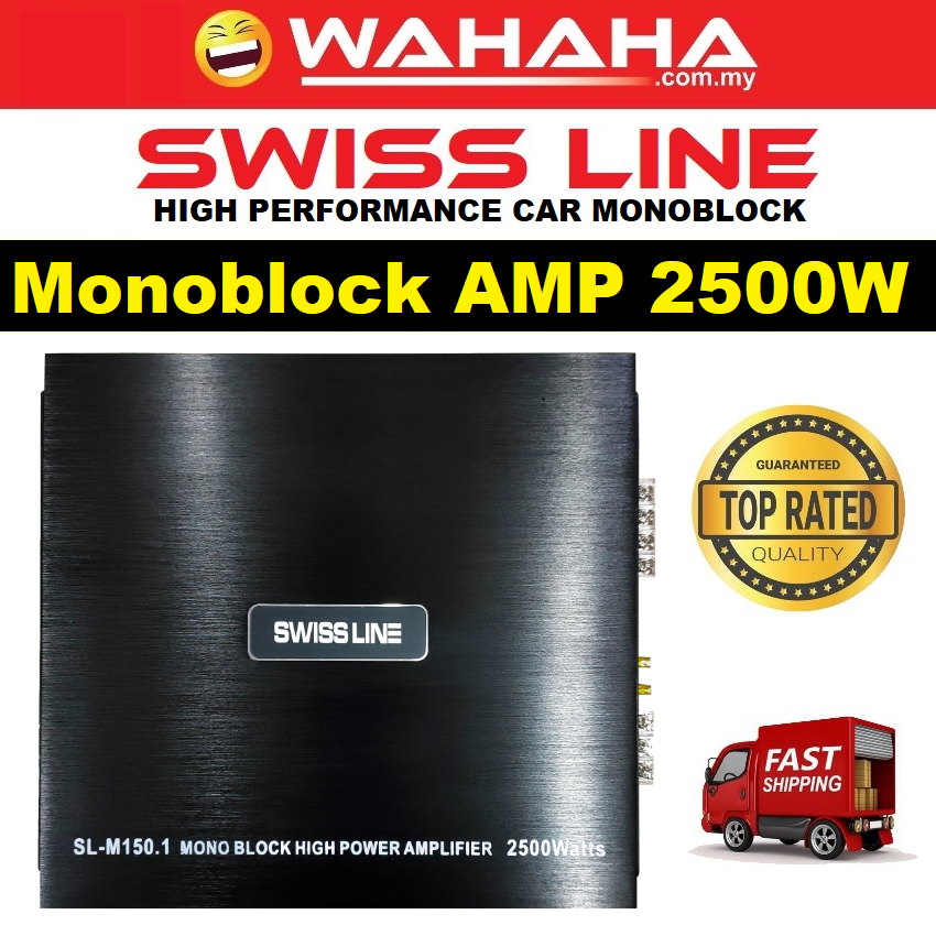 Swiss Line MonoBlock High Power Amp M150.1 Car Amplifier 2500Watts 2CH Channel Suitable for Car Woofer