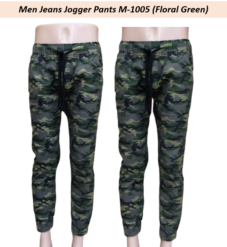Ready Stock - Korean Style Men Jeans Jogger Pant Collection- M-1005 (Floral Green) Floral Green