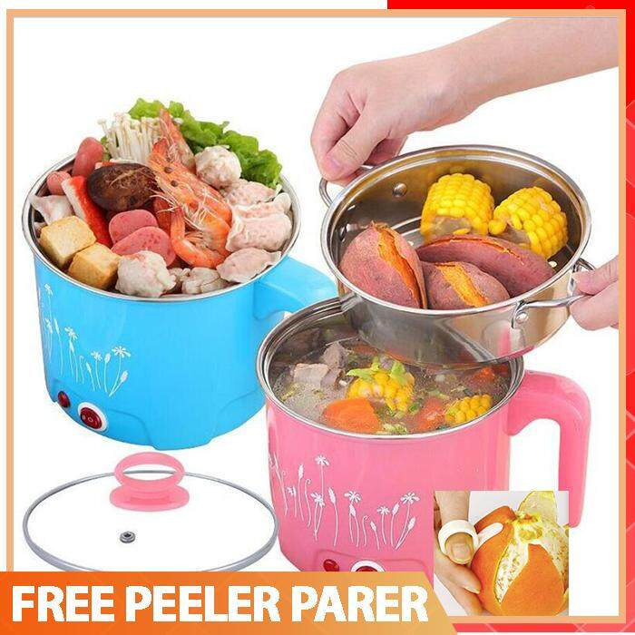 ?READY STOCK?1.8L Multi-functional Mini Food Cooker Steamer Hot Pot Electric Boiler Iron Stainless tray layer